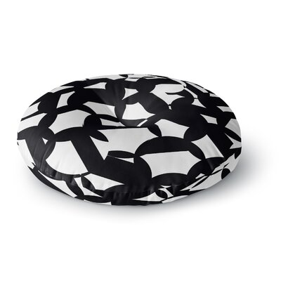 Gabriela Fuente Geo Chic Round Floor Pillow Size: 23 x 23, Color: Black/White