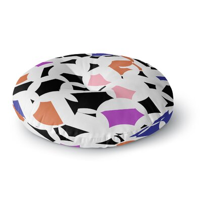 Gabriela Fuente Geo Chic Round Floor Pillow Size: 26 x 26, Color: White/Pink