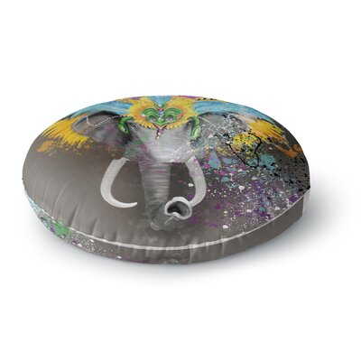 Geordanna Cordero-Fields My Elephant with Headdress Rainbow Round Floor Pillow Size: 23 x 23