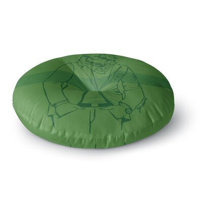 Geordanna Cordero-Fields Dapper Bear Green Emerald Animal Round Floor Pillow Size: 23 x 23