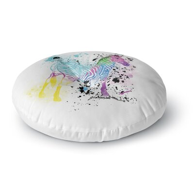 Geordanna Cordero-Fields My Zebra Rainbow Round Floor Pillow Size: 26 x 26