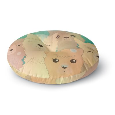 Graphic Tabby Alpacas in Snow Animals Round Floor Pillow Size: 23 x 23
