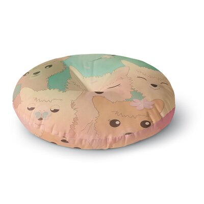 Graphic Tabby Spring Alpacas Animals Round Floor Pillow Size: 26 x 26