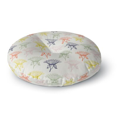 Gukuuki Rainbow Poppies Floral Round Floor Pillow Size: 23 x 23