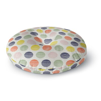 Gukuuki Rainbow Dots Vector Round Floor Pillow Size: 26 x 26