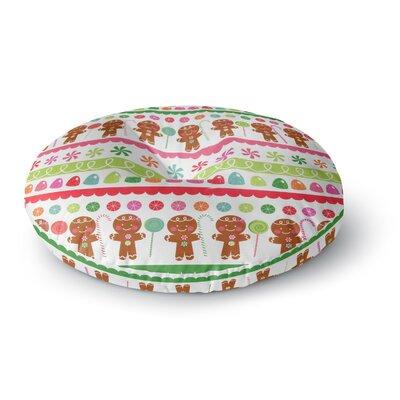 Heidi Jennings Gumdrop Buttons Gingerbread Round Floor Pillow Size: 26 x 26