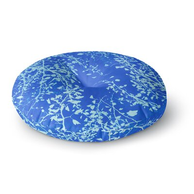 Iris Lehnhardt Twigs Silhouette Round Floor Pillow Size: 26 x 26, Color: Blue