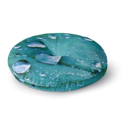 Iris Lehnhardt Water Droplets Round Floor Pillow Size: 26 x 26, Color: Teal