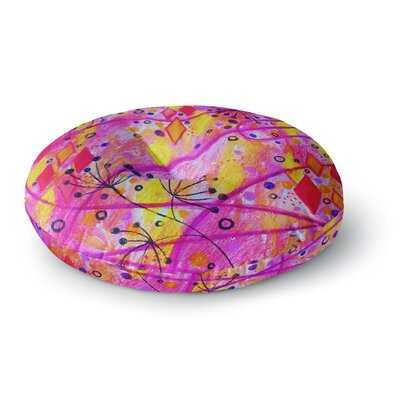 Ebi Emporium into the Fall 2 Round Floor Pillow Size: 26 x 26, Color: Pink/Yellow