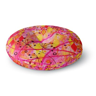Ebi Emporium into the Fall 2 Round Floor Pillow Size: 26 x 26, Color: Orange/Pink