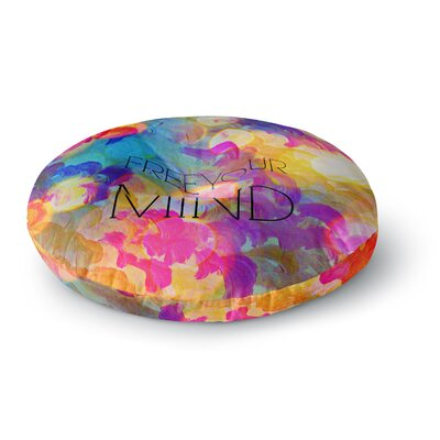 Ebi Emporium Free Your Mind Round Floor Pillow Size: 26 x 26, Color: Rainbow