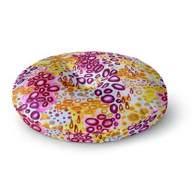 Ebi Emporium Circular Persuasian Round Floor Pillow Size: 26 x 26, Color: Yellow/Pink