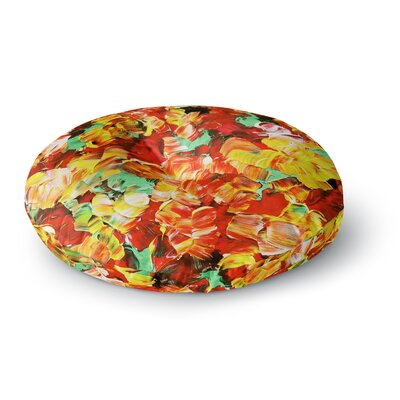 Ebi Emporium Floral Fantasy Round Floor Pillow Size: 26 x 26, Color: Orange/Yellow