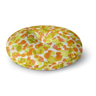 Ebi Emporium Giraffe Spots Round Floor Pillow Size: 23 x 23, Color: Orange/Yellow
