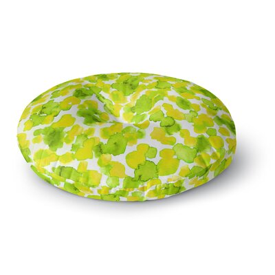 Ebi Emporium Giraffe Spots Round Floor Pillow Size: 23 x 23, Color: Green/Yellow