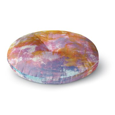 Ebi Emporium Off the Grid II Painting Round Floor Pillow Size: 23 x 23, Color: Orange/Purple