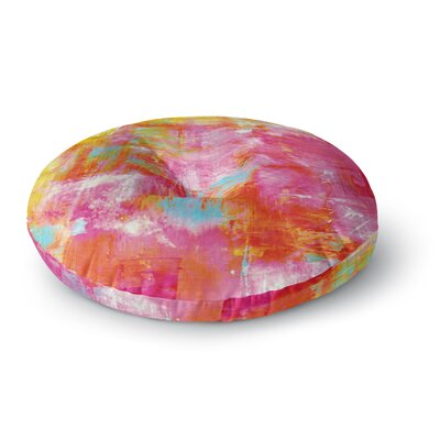Ebi Emporium Off the Grid II Painting Round Floor Pillow Size: 23 x 23, Color: Pink/Yellow