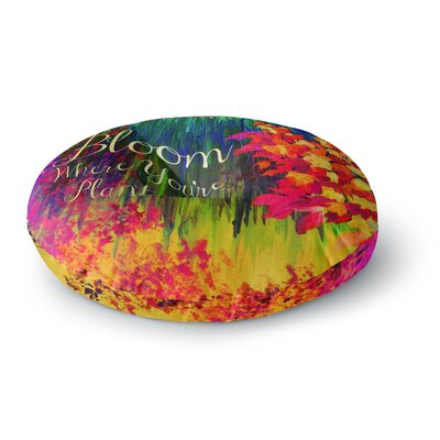 Ebi Emporium Bloom Where Youre Planted Floral Round Floor Pillow Size: 23 x 23