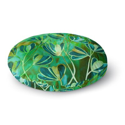 Ebi Emporium Efflorescence Round Floor Pillow Size: 26 x 26, Color: Teal/Green