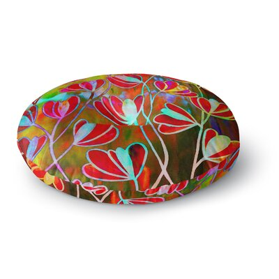 Ebi Emporium Efflorescence Round Floor Pillow Size: 26 x 26, Color: Red
