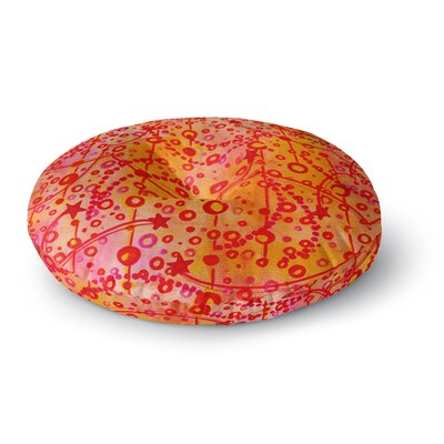 Ebi Emporium Make a Wish II Round Floor Pillow Size: 26 x 26, Color: Orange/Red