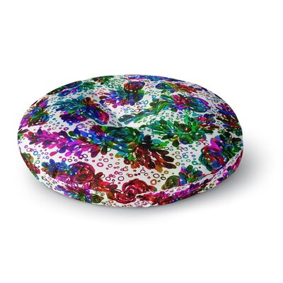 Ebi Emporium Prismatic Posy II Floral Round Floor Pillow Size: 23 x 23, Color: Rainbow
