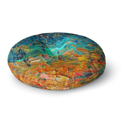 Ebi Emporium Eternal Tide Round Floor Pillow Size: 23 x 23, Color: Teal/Orange