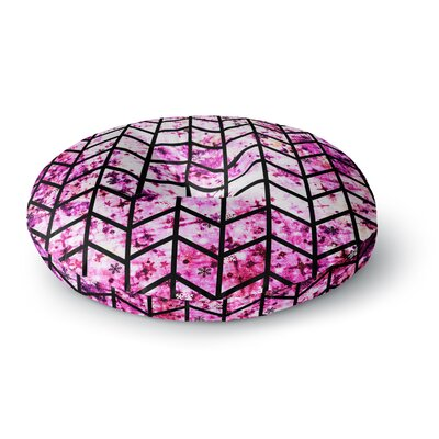 Ebi Emporium Chevron Wonderland II Round Floor Pillow Size: 23 x 23, Color: Pink/Black