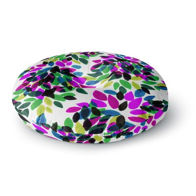 Ebi Emporium Dahlia Dots 2 Round Floor Pillow Size: 26 x 26, Color: Purple/Green