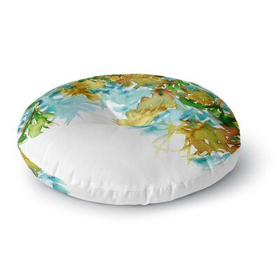 Ebi Emporium Floral Cascade 8 Round Floor Pillow Size: 26 x 26, Color: Yellow/Green