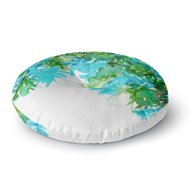 Ebi Emporium Floral Cascade 8 Round Floor Pillow Size: 26 x 26, Color: Teal/Green