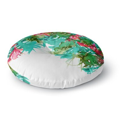 Ebi Emporium Floral Cascade 8 Round Floor Pillow Size: 26 x 26, Color: Teal/Red