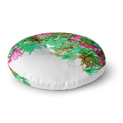 Ebi Emporium Floral Cascade 8 Round Floor Pillow Size: 23 x 23, Color: Purple/Green