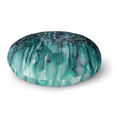 Ebi Emporium Forest Through the Trees 5 Round Floor Pillow Size: 23 x 23, Color: Teal/White