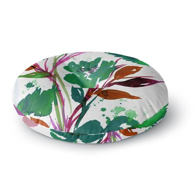 Ebi Emporium Pocket Full of Posies 11 Nature Round Floor Pillow Size: 26 x 26, Color: Green/Pink