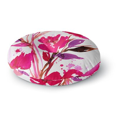 Ebi Emporium Pocket Full of Posies 11 Nature Round Floor Pillow Size: 26 x 26, Color: Nature/Pink