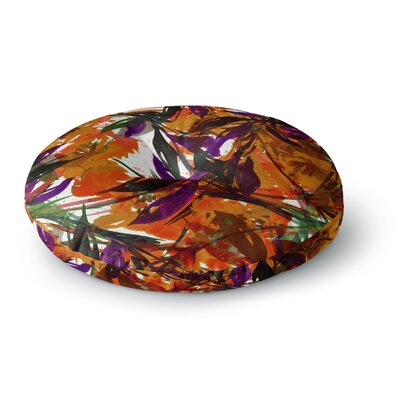 Ebi Emporium Floral Fiesta Round Floor Pillow Size: 23 x 23, Color: Orange