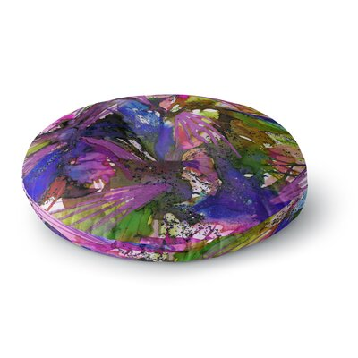 Ebi Emporium Birds of Prey Round Floor Pillow Size: 26 x 26, Color: Blue/Pink