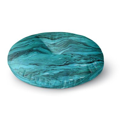 Ebi Emporium Marble Idea! Geological Round Floor Pillow Size: 23 x 23, Color: Aqua/Blue