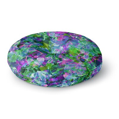Ebi Emporium Bloom On! Tropical Round Floor Pillow Size: 23 x 23, Color: Green/Purple