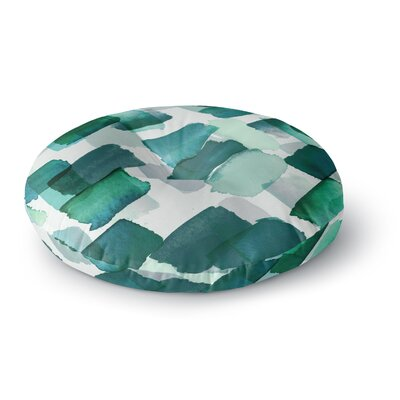 Ebi Emporium Strokes of Genius 4 Round Floor Pillow Size: 26 x 26, Color: Green/White