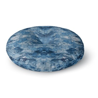 Ebi Emporium Tie Dye Helix Abstract Round Floor Pillow Size: 23 x 23, Color: Blue/White