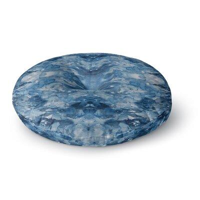 Ebi Emporium Tie Dye Helix Abstract Round Floor Pillow Size: 23 x 23, Color: Blue/White