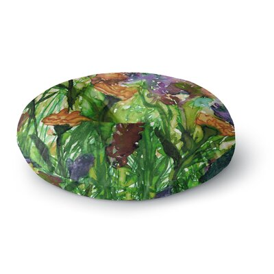 Ebi Emporium Floral Insurgence 6 Round Floor Pillow Size: 26 x 26, Color: Green/Pink
