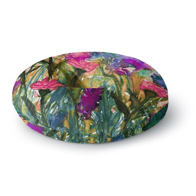 Ebi Emporium Floral Insurgence 6 Round Floor Pillow Size: 26 x 26, Color: Pink/Purple