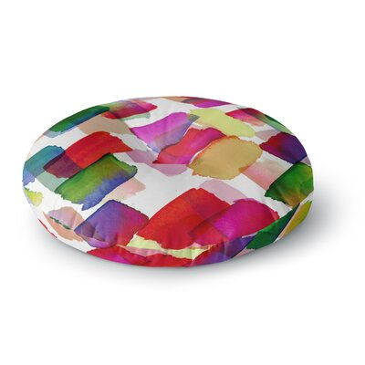 Ebi Emporium Strokes of Genius 4 Round Floor Pillow Size: 23 x 23, Color: Purple/Yellow