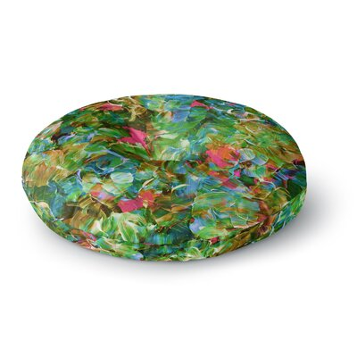 Ebi Emporium Bloom On! Tropical Round Floor Pillow Size: 23 x 23, Color: Green/Blue