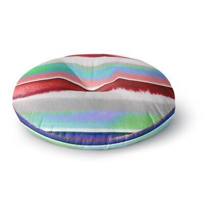Ebi Emporium Prism Stripe 2 Round Floor Pillow Size: 23 x 23, Color: Red/Blue