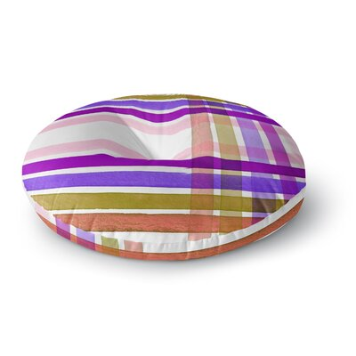 Ebi Emporium Plaid Stripes in Color 6 Round Floor Pillow Size: 23 x 23