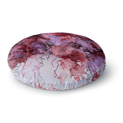 Ebi Emporium Beauty in the Rain Round Floor Pillow Size: 23 x 23, Color: Olive/Pink